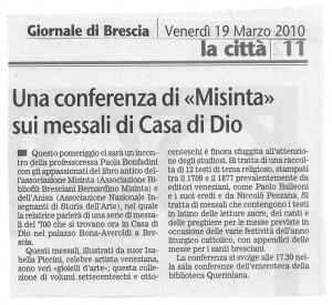 MISINTA - GIORNALE DI BRESCIA - 19.3.2010 - Enzo Giacomini
