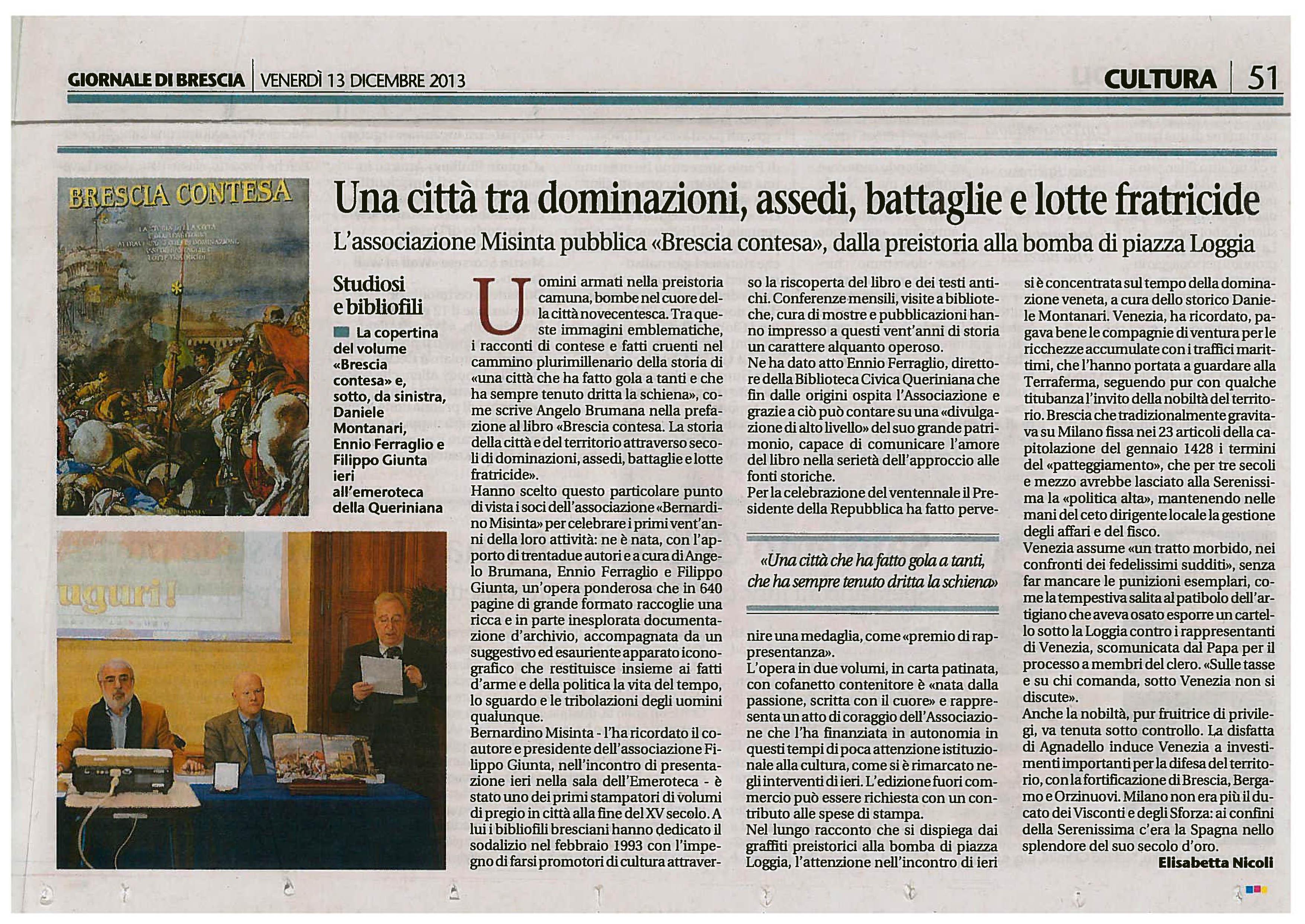 Giornale di Brescia articolo Nicoli