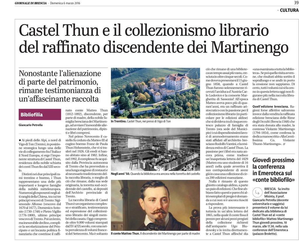GIORNALE DI BRESCIA 6 marzo 2016 PETRELLA CASTEL THUN E IL COLLEZIONISMO LIBRARIO