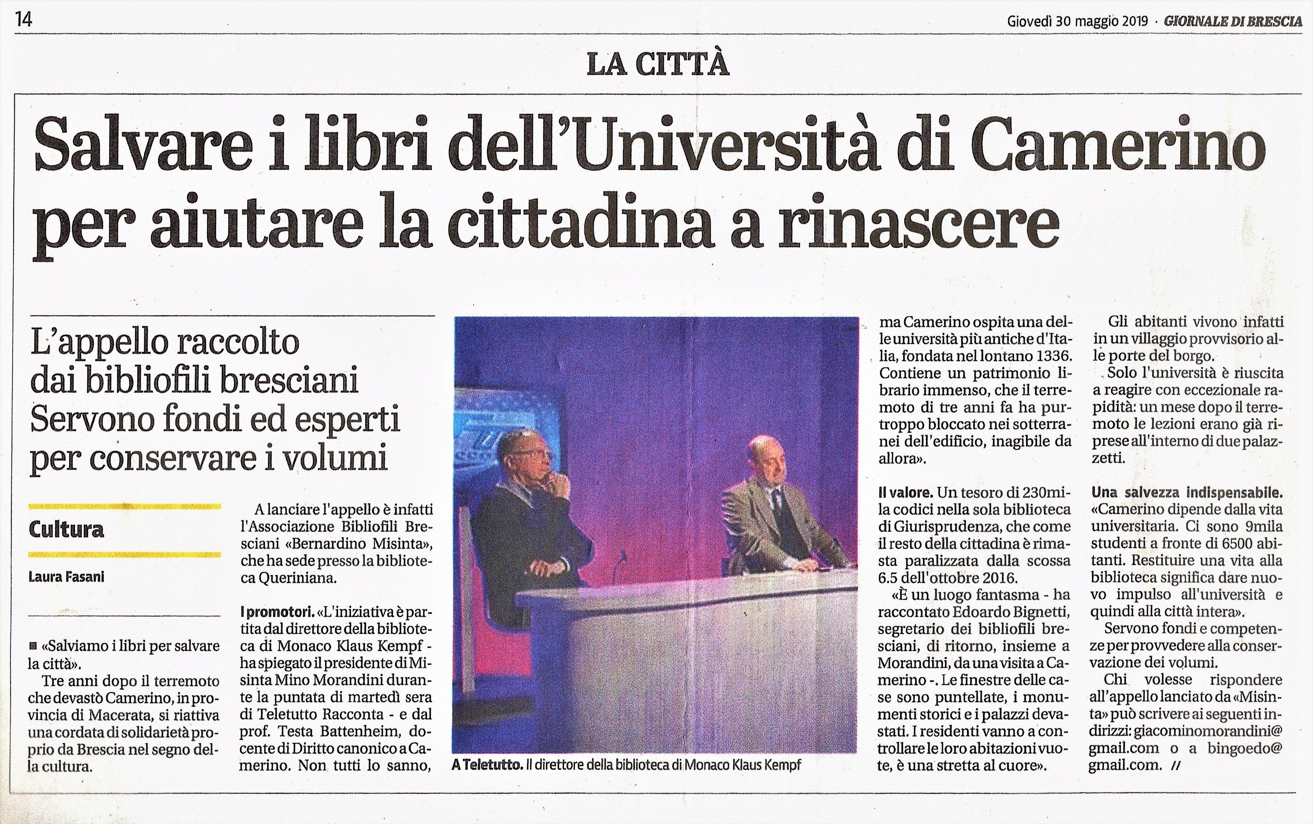 2019-Teletutto BS- M.Morandini E E. Bignetti